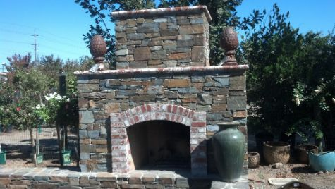 An image of finished outdoor fireplace in Cerritos.