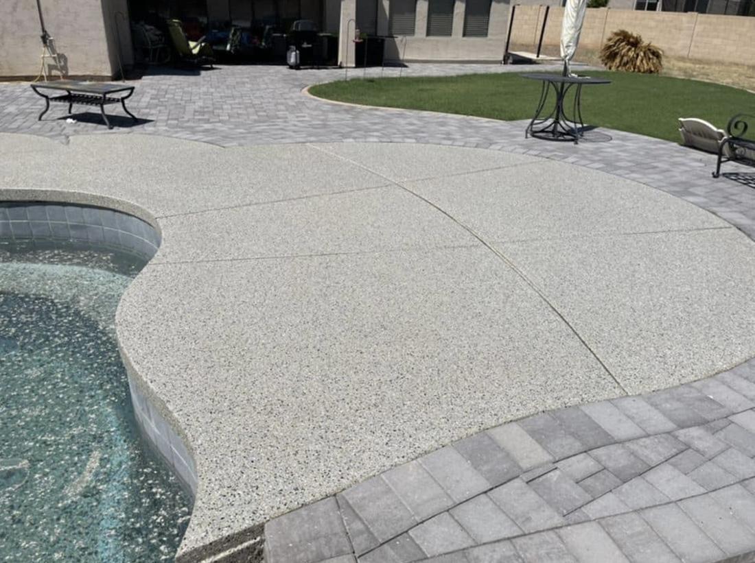 this image shows pool deck in Cerritos, California