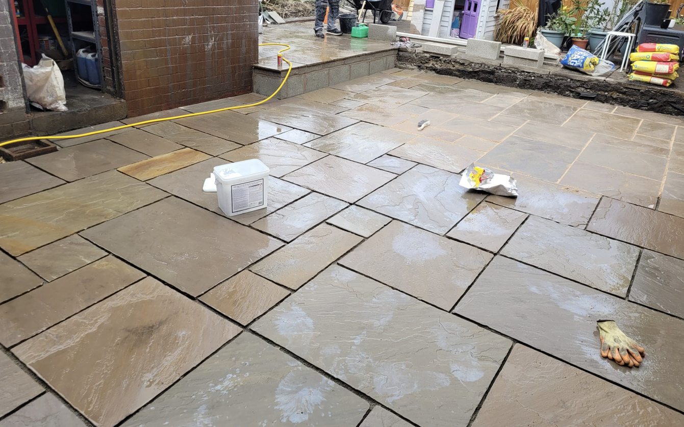 this image shows stained patios in Cerritos, California